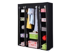 "53"" Portable Closet Wardrobe Clothes Rack Storage Organizer With Shelf Black"