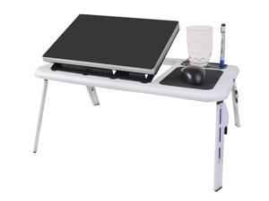 Foldable Laptop Table Tray Desk w/Cooling Fan Tablet Desk Stand for Bed/Sofa/Couch