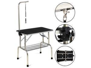 32'' Large Portable Pet Dog Cat Grooming Table Dog Show W/Arm & Noose & Mesh Tray