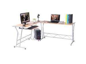 L-shape Computer Writing Work Study Table Workstation Wood Home Office Furniture