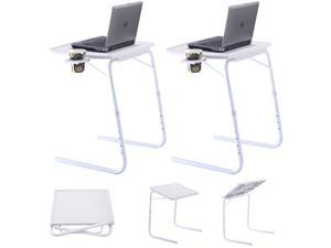 2 x Table Mate Adjustable PC TV Laptop Desk Tray Home Office s/ Cup Holder White