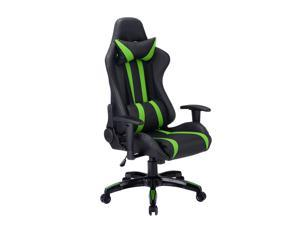 Executive Racing Style High Back Reclining Chair Gaming Chair Office Computer Black Green