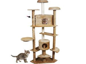 "Beige 80"" Cat Tree Condo Furniture Scratch Post Pet House"
