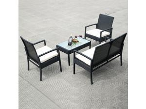 4 PCS Outdoor Patio Furniture Set Table Chair Sofa Cushioned Seat Garden
