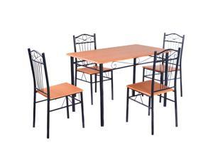 Steel Frame Dining Set Table and Chairs Kitchen Modern Furniture Bistro Wood