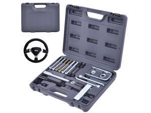 19 Pcs Steering Wheel Puller& Lock Plate Set Compressor Installer Remover Kit
