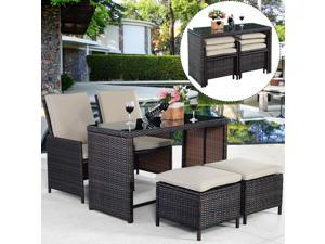 5PCS Brown Cushioned Ottoman Rattan Patio Set Outdoor Furniture Garden