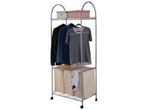 3 Bag Laundry Hamper Washing Bin 2-Tier Rolling Clothing Garment Rack Shelf
