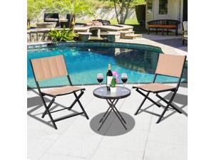 3PCS Patio Folding Table Chairs Furniture Set Bistro Garden Steel Textilene