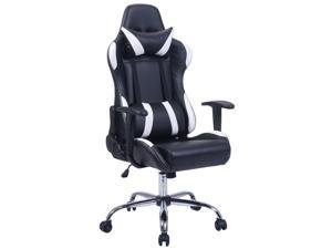Black and White Gaming Chair Office Chair Race Computer Game Adjustable