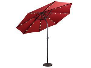 10FT Patio Solar Umbrella LED Patio Market Steel Tilt W/ Crank Outdoor