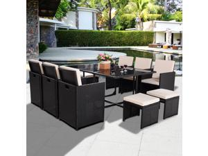 11 PCS Outdoor Patio Rattan Wicker Furniture Set Sectional Sofa Table Cushioned