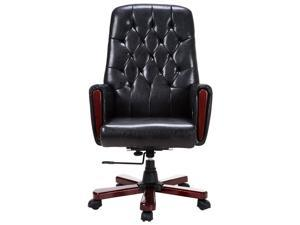 Modern High Back PU Leather Deluxe Guest Office Accent Chair Furniture Black