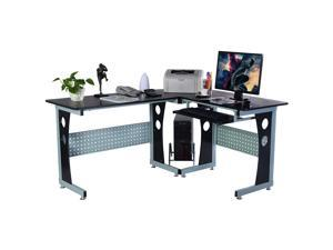 Wood L-Shape Corner Computer Desk PC Table Workstation Home Office Black