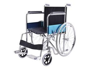 "24"" Lightweight Foldable Stainless Steel Transport Wheel Chair w/ Footrest"