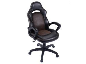 High Back Race Car Style Bucket Seat Office Desk Chair Gaming Chair Brown