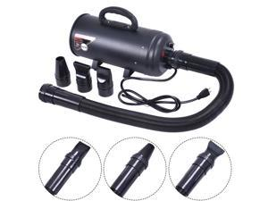 Black Double Motor Dog Cat Pet Groomming Dryer Air Blower Quick W/ Heater 3600W