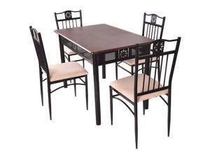 5 Piece Dining Set Wood Metal Table and 4 Chairs Kitchen Breakfast Furniture