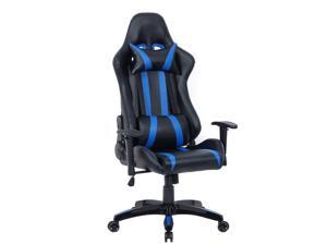 Executive Racing Style High Back Reclining Chair Gaming Chair Office Computer Black Blue