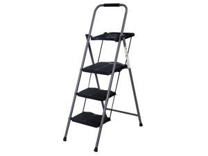 GoPlus HD 3-Step Ladder Platform Folding Stool 330 LBS Capacity Space Saving w/Tray