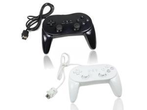 2 Classic Controller Pro for Nintendo Wii Remote Game Black + White US Ship