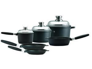 """Eurocast/Berghoff Professional Cookware Chef Set With 3 Glass Lids/Removable Handles. Includes 1.2 Qt Sauce Pan (6.25""""), 3.2Qt Stock Pot, 5Qt Stock Pot (10""""), 9.5"""" Saute Pan, 8"""" Fry Pan, 11"""" Fry Pan"""