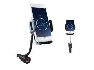 SOAIY 3 In 1 Car Mount Charger Holder Cradle with Dual USB Port 2.1 A Charger and LED Screen Display Voltage and Current for iPhone 6s 6 plus 5s Samsung S7 S6 S5