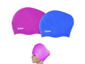 Premium Waterproof Haircare Silicone Swim Cap Soft Bathing Hat to Keep Hair Healthy with Greater Durability Highly Elastic&Large Stretch Eco-friendly,Best for Long,Thick,or Curly Hair,2 Pack