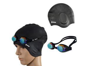Swim Cap,Premium Earmuffs Silicone Swimming hat with Goggle for Men and Women with Beautiful Design Highly Elastic & Durability for Short,medium and Long Hair