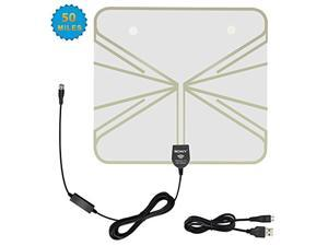 50 Miles Reception Amplified HDTV Antenna,Ultra Thin Indoor HDTV Antenna Built-in Amplifier for UHF/VHF with 16.5ft Coaxial Cable