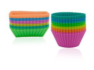 Silicone Cupcake Baking Muffin Cups Liners Molds Sets,24 Pack with Different Colors