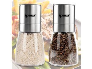 Ceramic and Full Stainless Steel Grinding Mechanism Salt and Pepper Grinders Mill Pair with Adjustable Coarseness Shakers,6 OZ,2 Pack