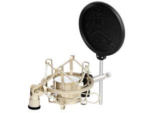 SOAIY Microphone Shock Mount with Pop Filter, MIC Anti Vibration Suspension Metal Microphone Shock Mount Holder Clip with Pop Shield Screen (Fit for Diameter 43mm-46mm microphone)