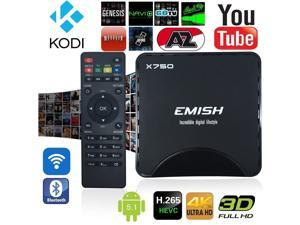 Smart TV Box by EMISH, Android 5.1 Amlogic S905, 4K UHD, Quad Core CPU 64 BIT A53, Flash 8GB with KODI, Wifi and Bluetooth Functions, Internet Streaming Media Player