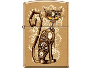 Zippo Brushed Brass Steampunk Cat Windproof Pocket Lighter 204BCI018404