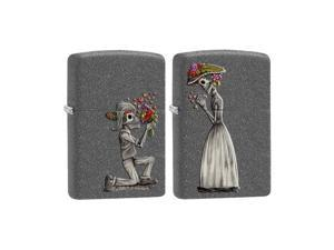 Zippo Skeleton Love 2 set, Iron Stone Windproof Pocket Lighter 28987