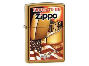 Zippo 204B Brush Brass / CI000128-Mazzi Zippo Flag Windproof Pocket Lighter 204BCI000128