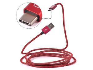 USB C Cable, CACOY USB C to USB Charger 6.6Ft(2M) Braided Cable with Aluminum Connector for Nexus 5X, Nexus 6P,ChromeBook Pixel,LG G5,OnePlus 2,Nokia N1,Lumia 950XL,Macbook 12 inch (Red and Black)
