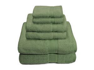Army Green - 6-Piece Set: Premium 100% Cotton 650 GSM Towels