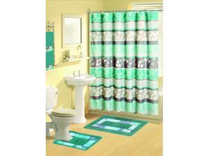 17 Piece Bathroom Sets (Includes Curtains, Mats & MORE)