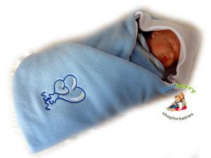 BlueberryShop LUXURIOUS FLEECE VERY WARM Swaddle Wrap, Blanket, Sleeping Bag baby shower GIFT PRESENT 0-3m