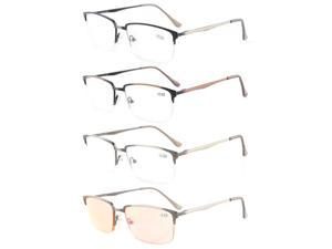 Eyekepper 4-Pack Readers Quality Spring Hings Half-rim Brushed Metal Reading glasses Included Computer Glasses +2.0