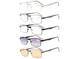5-pack Eyekepper Rectangle Metal Frame Spring Hinges  Reading Glasses Include Computer Readers +1.25