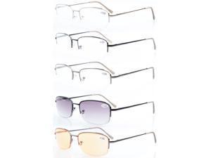 5-pack Eyekepper Metal Half-rim Spring Hinges  Reading Glasses Include Computer Readers +2.75
