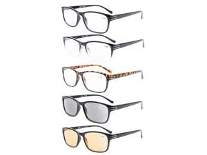 Eyekepper 5-Pack Readers Include Reading Glasses Sun Readers Computer Glasses Men +2.25