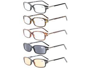 Eyekepper 5-Pack Spring Temple Readers Include Reading Glasses Sun Readers Computer Glasses +2.25