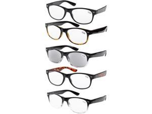 Eyekepper 5-pack Spring Hinges 80's Reading Glasses Includes Sun Readers +4.00