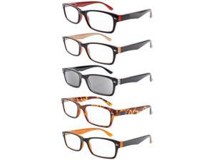 Eyekepper 5-pack Spring Hinges Plastic Reading Glasses Includes Sun Readers +2.25