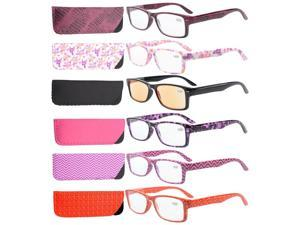 Eyekepper 6-Pack Spring Hinges Patterned Rectangular Reading Glasses Include Computer Readers Women +0.5