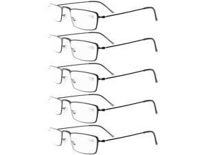 Eyekepper 5-Pack Stainless Steel Frame Half-eye Style Reading Glasses Readers Black +0.75